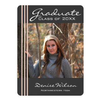 Striped Graduation Photo Invitation