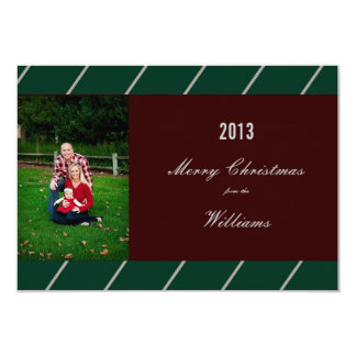 Striped Green Red Christmas Family Photo Card 9 Cm X 13 Cm Invitation Card