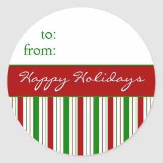 Striped Happy Holidays Red and Green Gift Tags Round Sticker