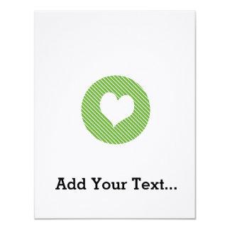Striped heart Green 11 Cm X 14 Cm Invitation Card