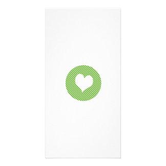 Striped heart Green Photo Greeting Card
