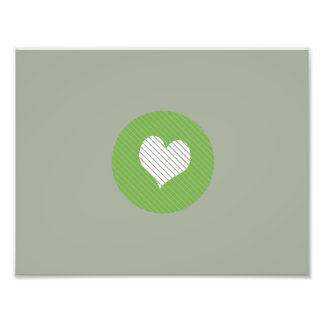 Striped heart Green Photo Print