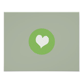 Striped heart Green Photographic Print
