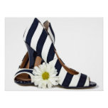 striped high heels and daisy poster