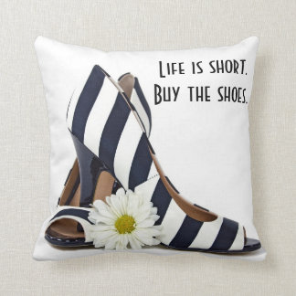 striped high heels with daisy throw pillow