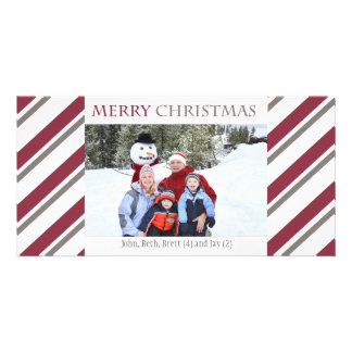 Striped Holiday Photo Card-burgundy Card