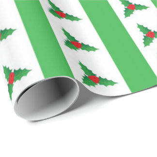 Striped Holly Wrapping Paper