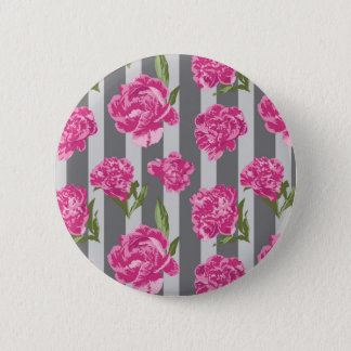 Striped Hot Pink Peony Seamless Pattern 6 Cm Round Badge