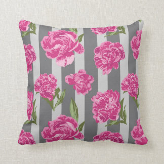 Striped Hot Pink Peony Seamless Pattern Cushion