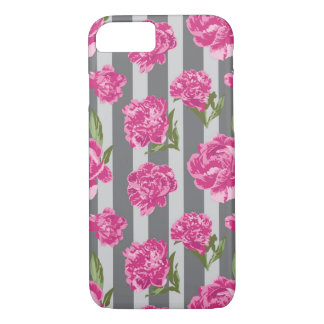 Striped Hot Pink Peony Seamless Pattern iPhone 8/7 Case
