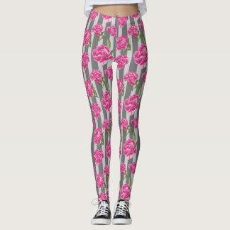 Striped Hot Pink Peony Seamless Pattern Leggings