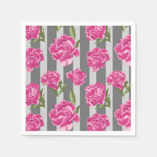 Striped Hot Pink Peony Seamless Pattern Paper Napkins