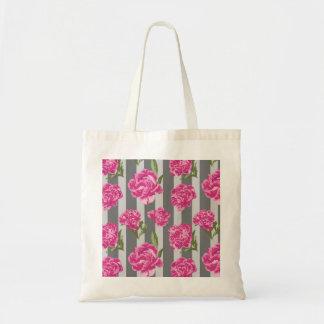 Striped Hot Pink Peony Seamless Pattern Tote Bag