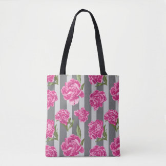 Striped Hot Pink Peony Seamless Pattern Tote Bag