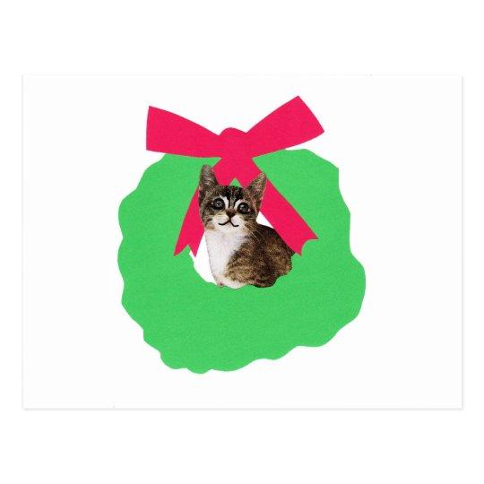 Striped Kitten Holiday Christmas Wreath Postcard