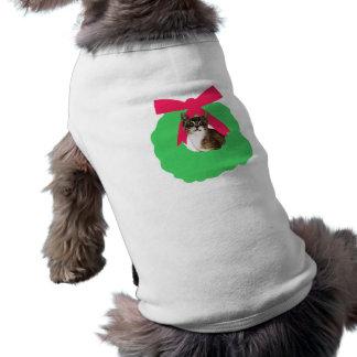 Striped Kitten Holiday Christmas Wreath Sleeveless Dog Shirt