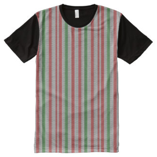 Striped Knit Look Christmas Ugly Sweater All-Over Print T-Shirt