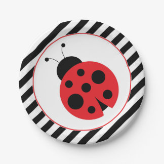 Striped Ladybug Party Plates