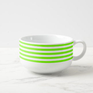 Striped Lawn Green Soup Bowl With Handle