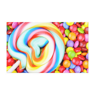 Striped Lollipop And Multicolored Smarties Canvas Print