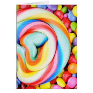 Striped Lollipop And Multicolored Smarties Card
