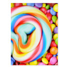 Striped Lollipop And Multicolored Smarties Postcard
