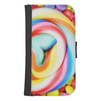 Striped Lollipop And Multicolored Smarties Samsung S4 Wallet Case