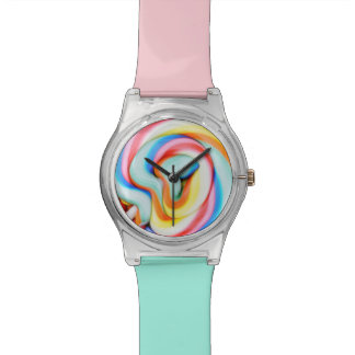 Striped Lollipop And Multicolored Smarties Wrist Watches