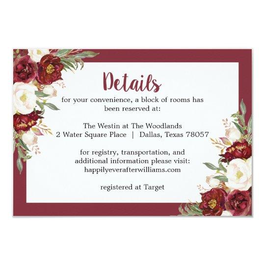 Striped Marsala Floral Wedding Accommodation Card
