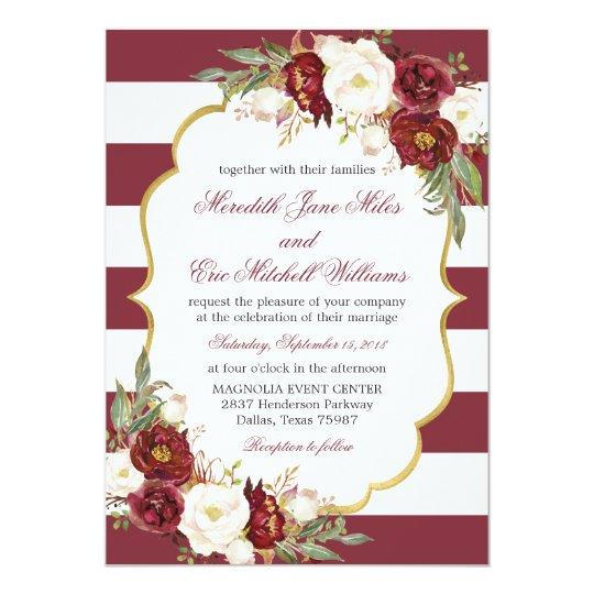 Striped Marsala Floral Wedding Invitation