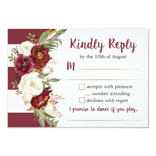 Striped Marsala Floral Wedding Reply Card