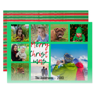 Striped Merry Christmas Green Red Script Collage Card