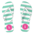 Striped Monogram in Sea Foam & Pink Flip Flops