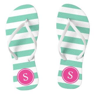 Striped Monogram in Sea Foam & Pink Flip Flops