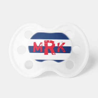 Striped Monogram Red and Blue Pacifier