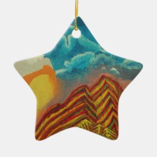 Striped mountain ceramic star decoration