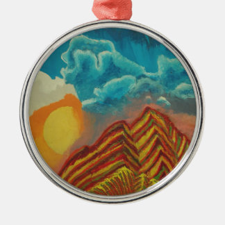 Striped mountain christmas ornament