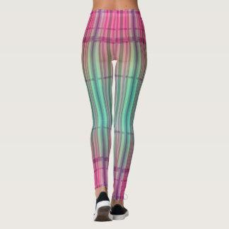 Striped New Tartan Aqua Pink Leggings