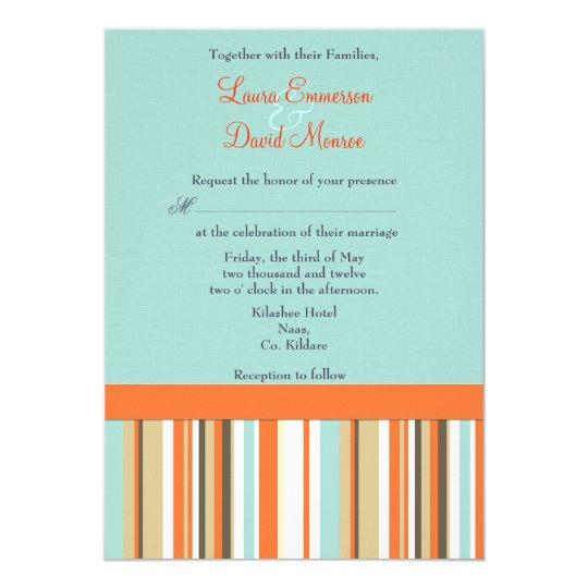 Striped orange and blue  Wedding invitation
