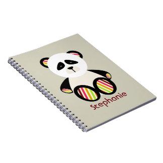 Striped Panda Personalized Spiral Notebook
