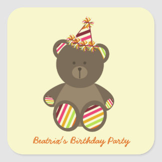 Striped Party Hat Bear Birthday Party Stickers
