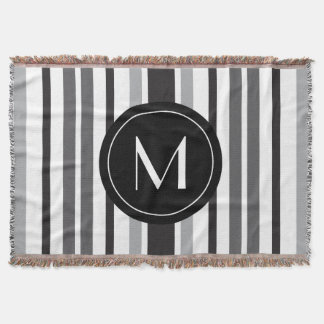Striped Pattern Grey Black White Personal Inital Throw Blanket