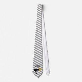 Striped Pattern Hair Stylist Elegant Style Tie