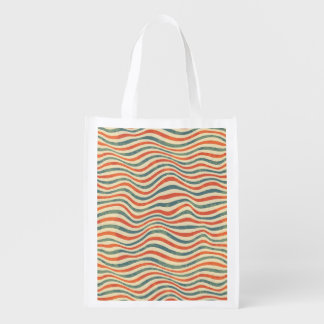 Striped pattern reusable grocery bag