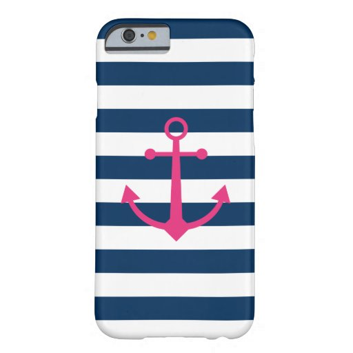 Striped Pink Anchor iPhone Case