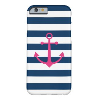 Striped Pink Anchor Case-Mate iPhone Case