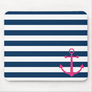 Striped pink anchor mouse mat