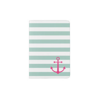 Striped pink anchor passport holder