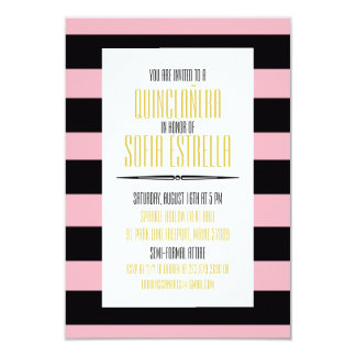 Striped Pink and Black Sweet Quinceañera Card