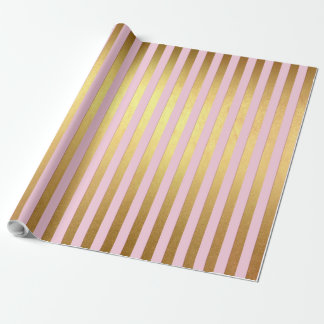 Striped- pink and golden stripes wrapping paper